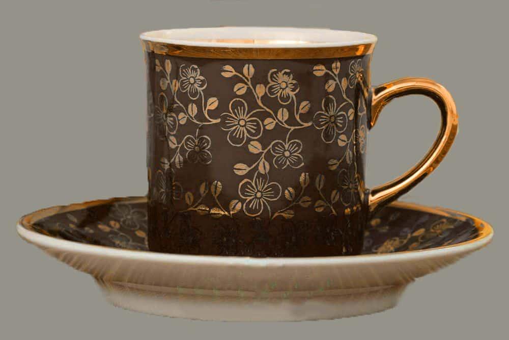 Кофейная пара высокая 100 мл шоколад Виндзор Золотые цветы Леандер E341