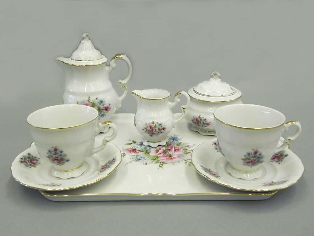 Подарочный набор кофейный мокко Тет-а-тет Соната Розовые цветы Леандер 0013