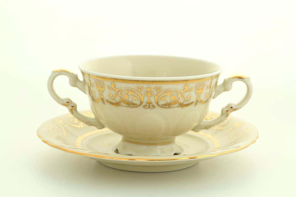 Чашка для супа с блюдцем 2руч. Соната Леандер 1373