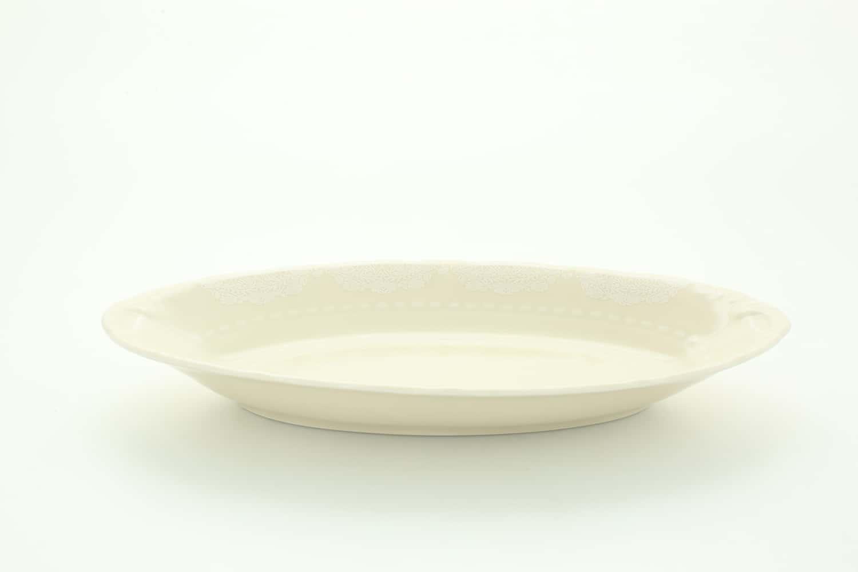 Блюдо овальное 23 см Соната, Белый узор, слоновая кость 07516125-3001