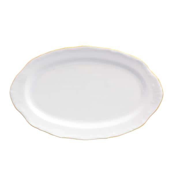 Блюдо овальное 25 см Белый узор Корона