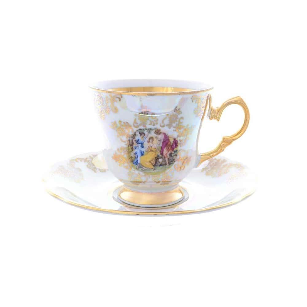 Набор кофейных пар Queens Crown Мадонна перламутр 140 мл