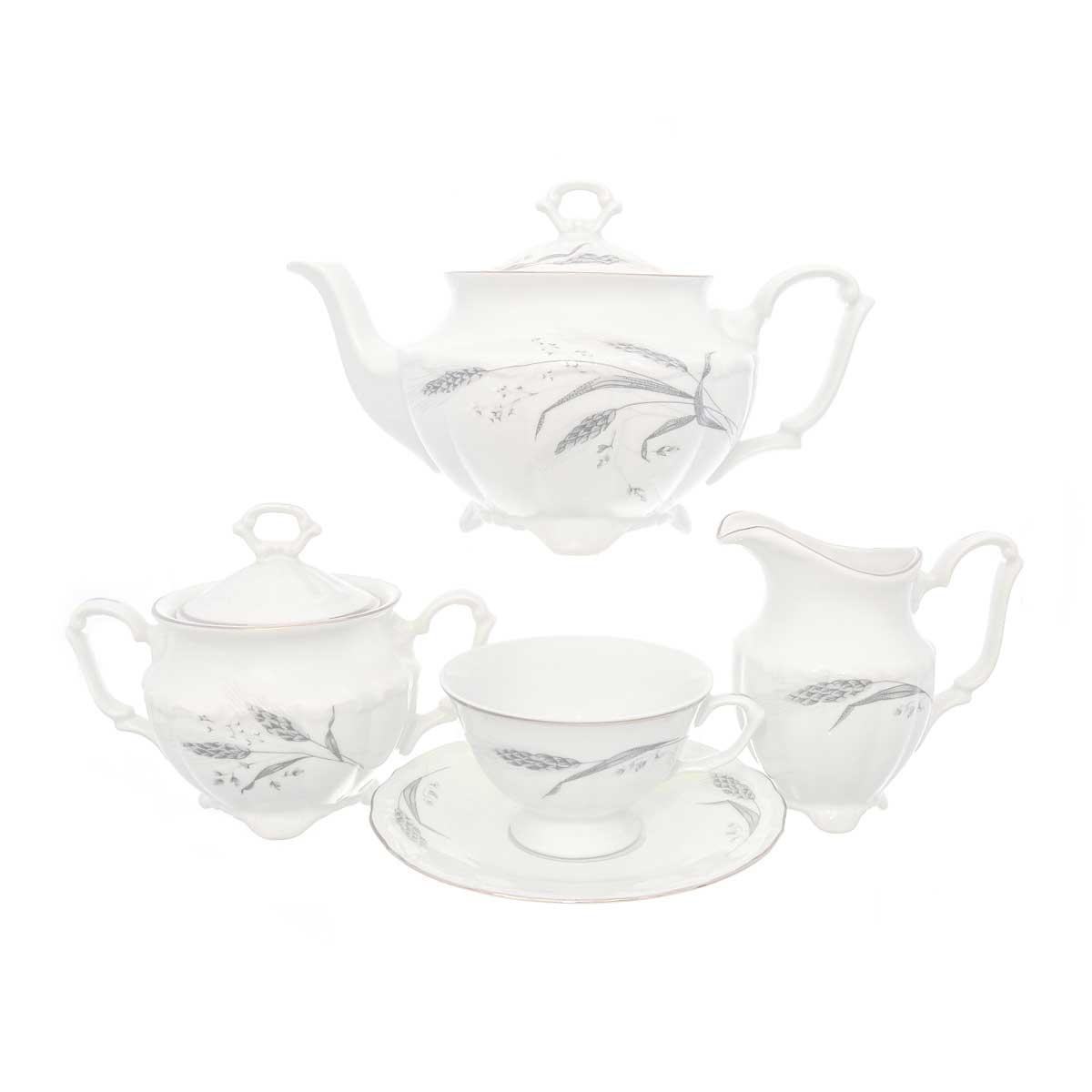Чайный набор Серебряные колосья Repast классическая чашка (15 предметов на 6 персон)