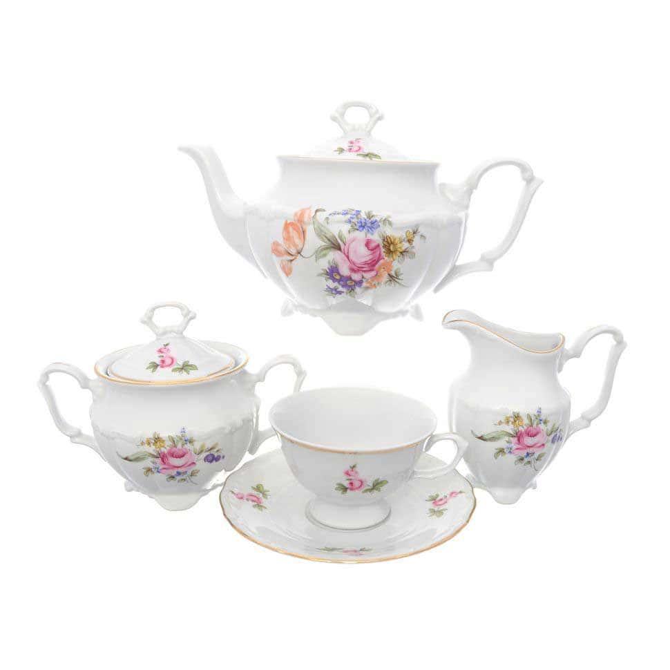 Чайный набор Мейсенский букет Repast классическая чашка (15 предметов на 6 персон)