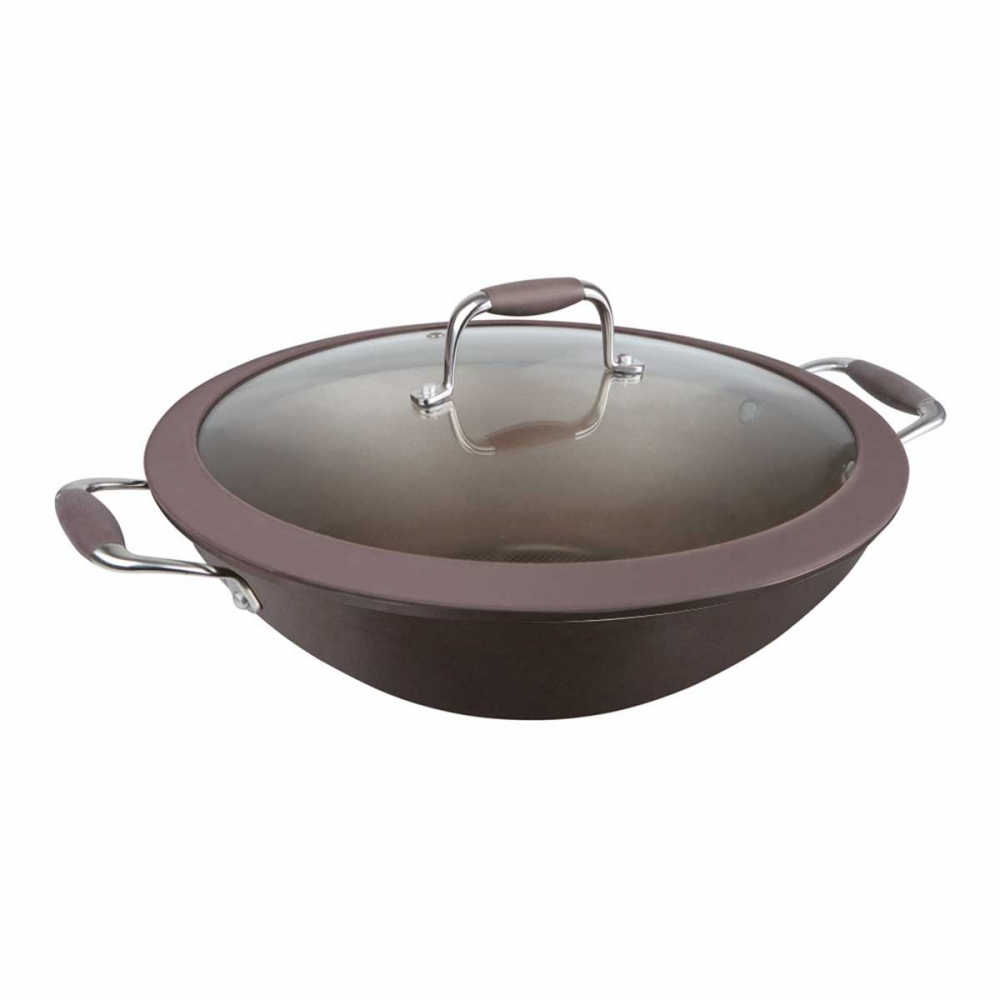 Сковорода вок со стеклянной крышкой Repast Dark chocolate диаметр 30 см, высота 9 см, 4 л