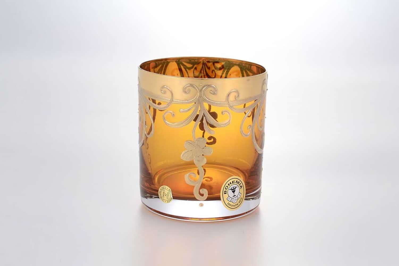 Набор стаканов для виски Bohemia Star Crystal Лепка янтарная (6 шт)