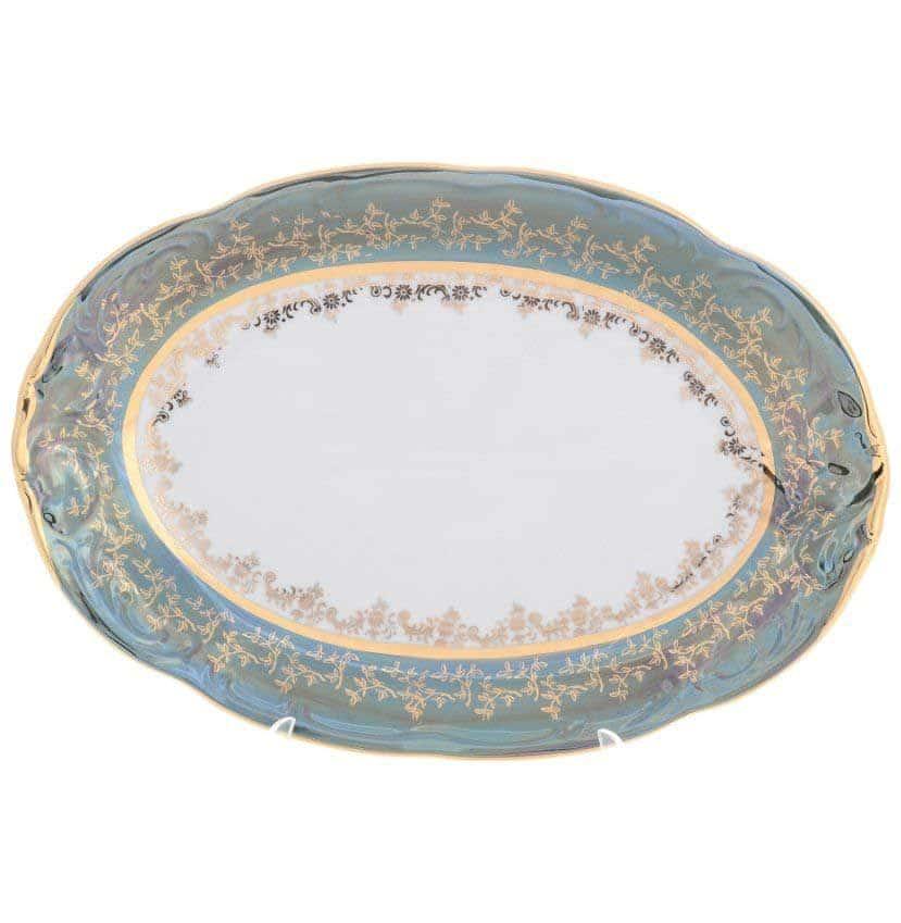 Блюдо овальное Sterne porcelan Зеленый лист 33 см
