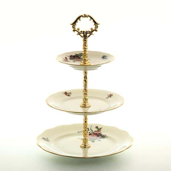 Этажерка (Горка) три яруса Sterne porcelan Аляска Цветочный букет Слоновая кость