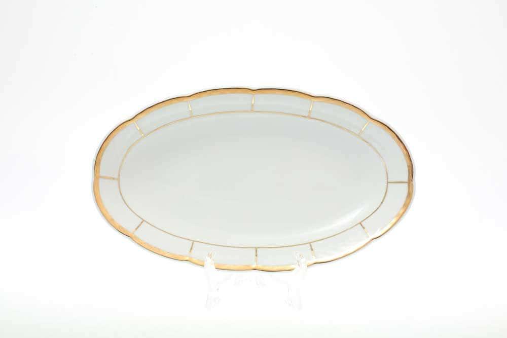 Блюдо овальное Thun Менуэт обводка золото 21 см