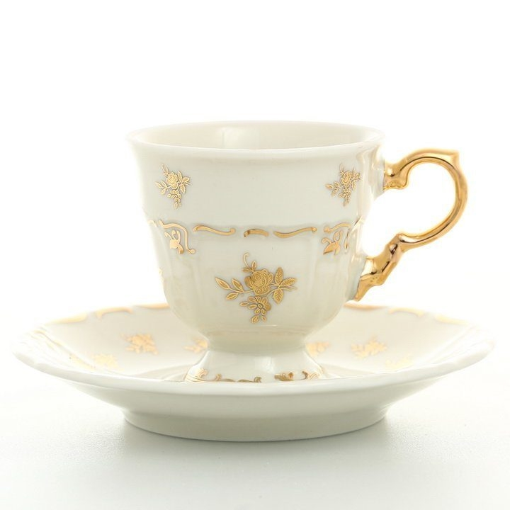 Набор кофейных пар Thun Мария Луиза Ivory 140мл (6 пар)