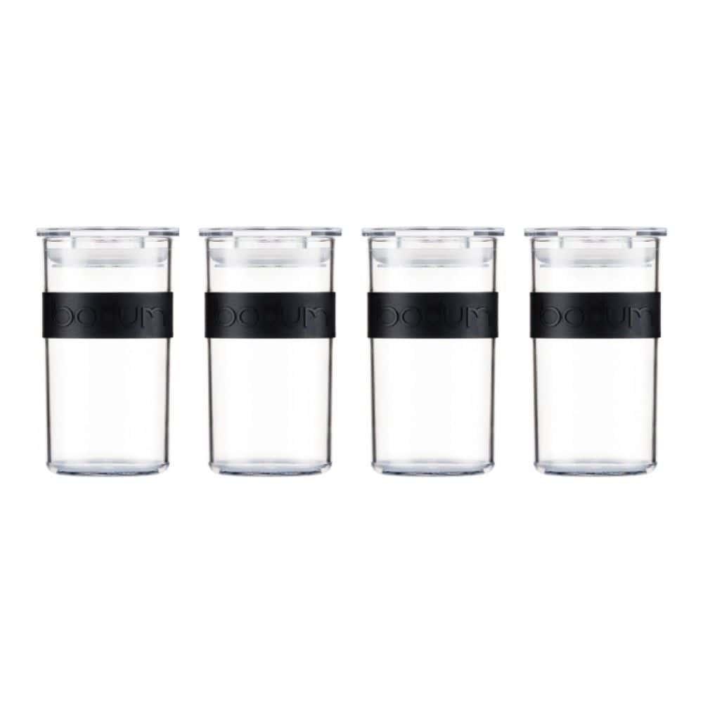 Набор банок для хранения Bodum Presso из поликарбоната 4 шт., 0.25 л, цвет черный