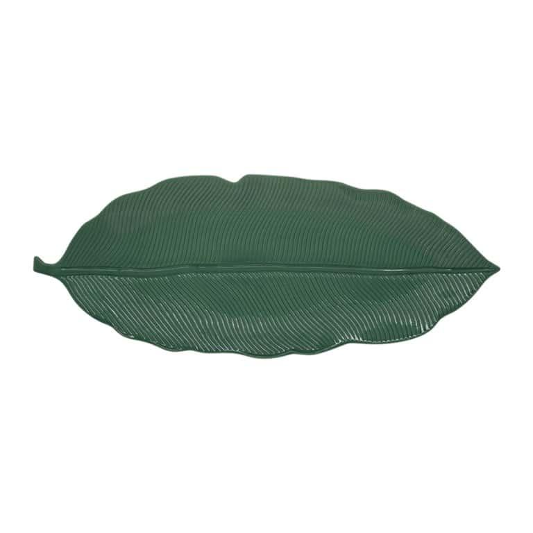 Блюдо-листок сервировочное зеленое 39см.Мадагаскар Easy Life