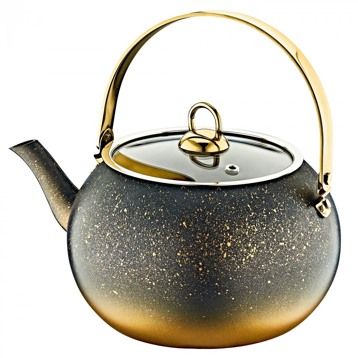 Чайник с а/п покрытием 2 л./черн./золотой O.M.S.