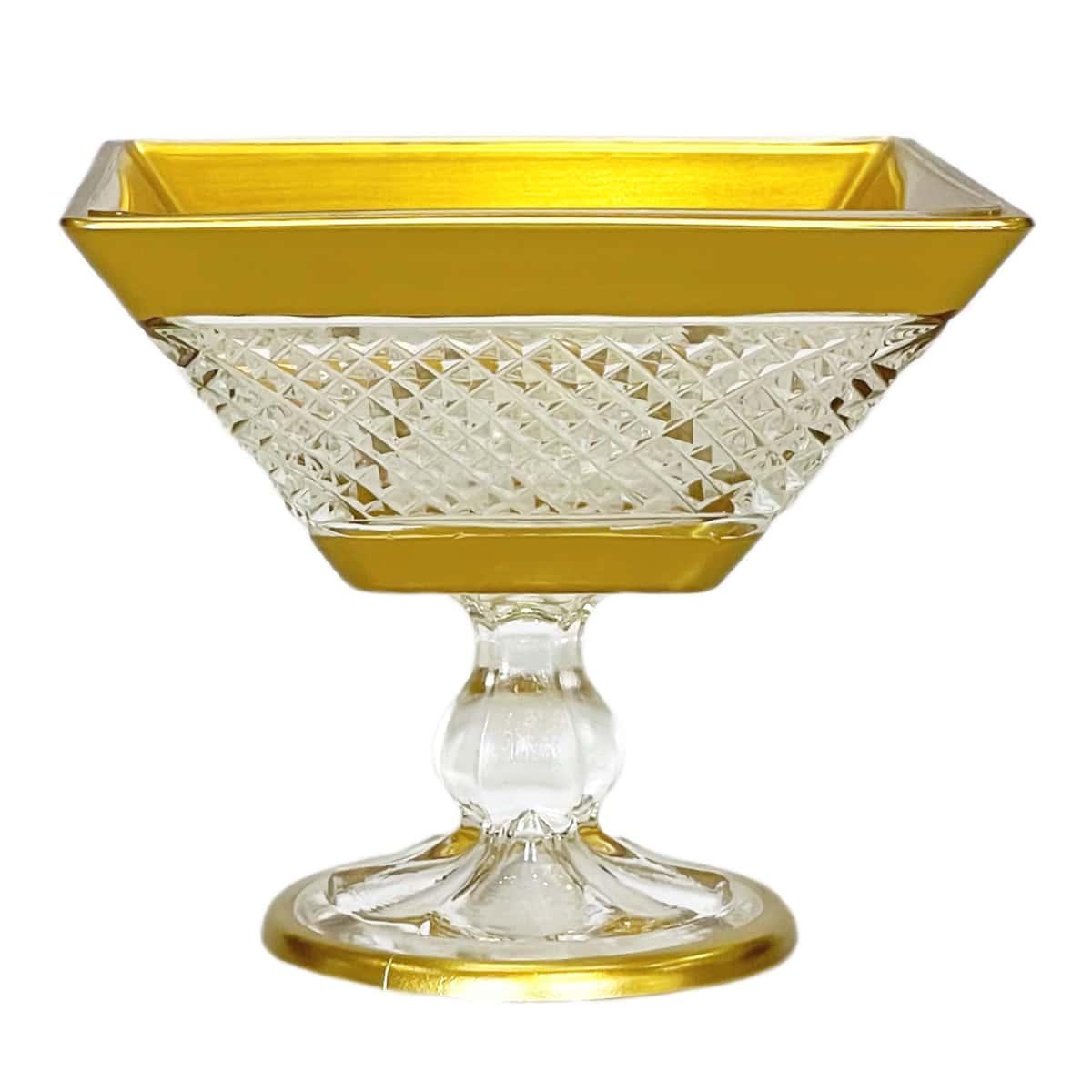 Креманка 12см.Barok YH золотая квадратная