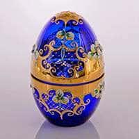 Шкатулка в форме яйца Лепка синяя Cerna Чехия