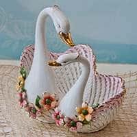 Ваза для фруктов керамическая  Лебеди 30,5x29x33 см