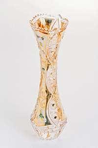 Ваза для цветов Хрусталь с золотом 25,5 см