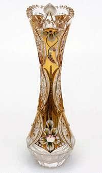 Ваза для цветов Хрусталь с золотом 23 см