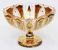 Ваза для конфет Хрусталь с золотом 25,5 см Jahami Bohemia