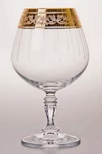 Набор бокалов для бренди с золотыми узорами  380 мл Виктория