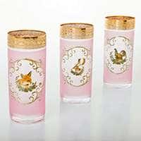Охота розовая Набор стаканов для воды Bohemia 300 мл