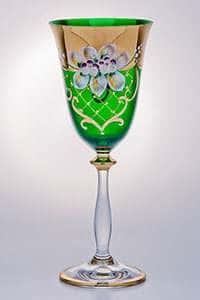 Набор бокалов для вина Лепка зеленая 250 мл Bohemia