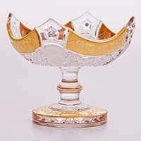 Ваза для конфет на ножке Снежинка с золотой росписью 15,5 см Bohemia Brilliant