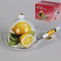 Лимонница с вилочкой из китайского фарфора Patricia 15 см