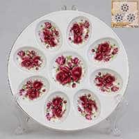 Тарелка для яиц из фарфора Patricia с цветочным принтом