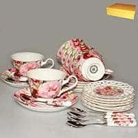 Цветущий шиповник Чайный набор Patricia 24 предмета 220 мл (костяной фарфор)