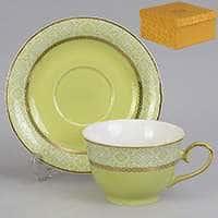 Симфония зеленая Чайная пара из фарфора Patricia 2 предмета 200 мл