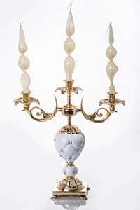 Франко Подсвечник из керамики и латуни  на 3 свечи