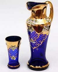 Испанский Лепка синяя Набор для воды Potochka (кувшин и 6 бокалов)