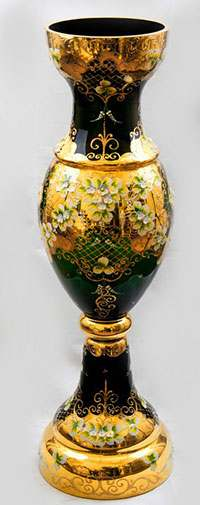 Ваза для цветов Кубок Лепка зеленая 70 см