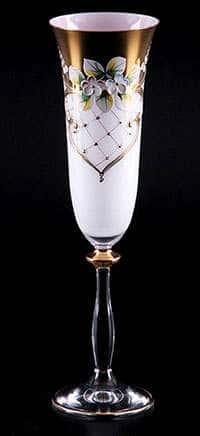 Набор фужеров для шампанского Лепка белая 200 мл