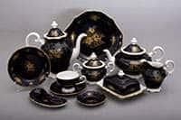 Розы золотые кобальт Чайный сервиз Weimar 55 предметов на 12 персон