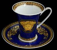 Пара кофейная 180 мл 2 предмета Медуза синяя